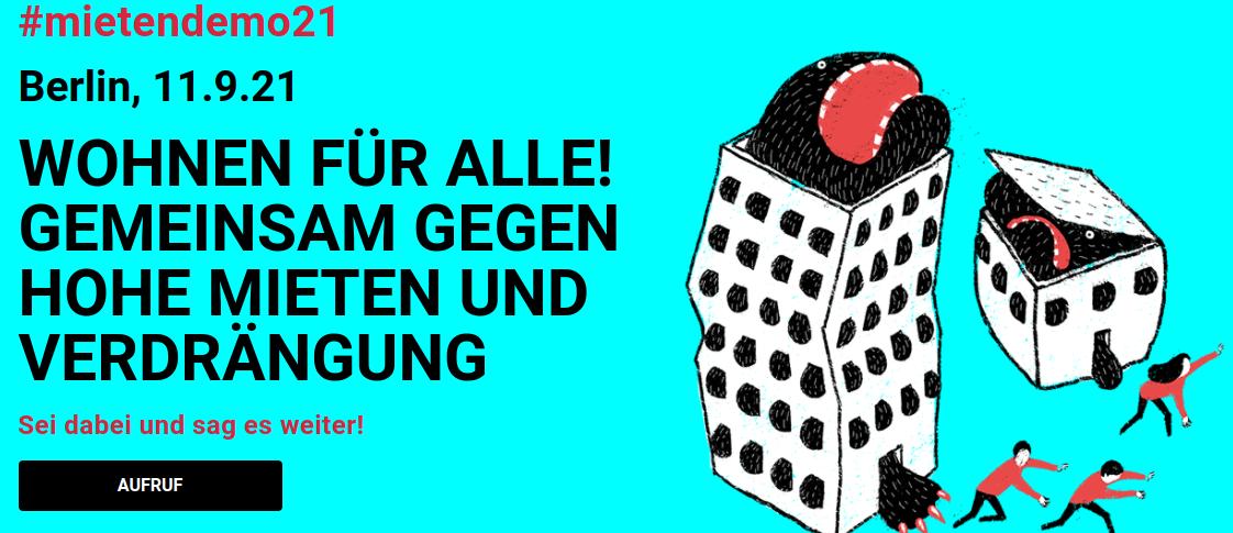 Demo Berlin: WOHNEN FÜR ALLE!  Gemeinsam gegen hohe Mieten und Verdrängung